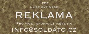Reklamní bannery na webu o vojenském vybavení.