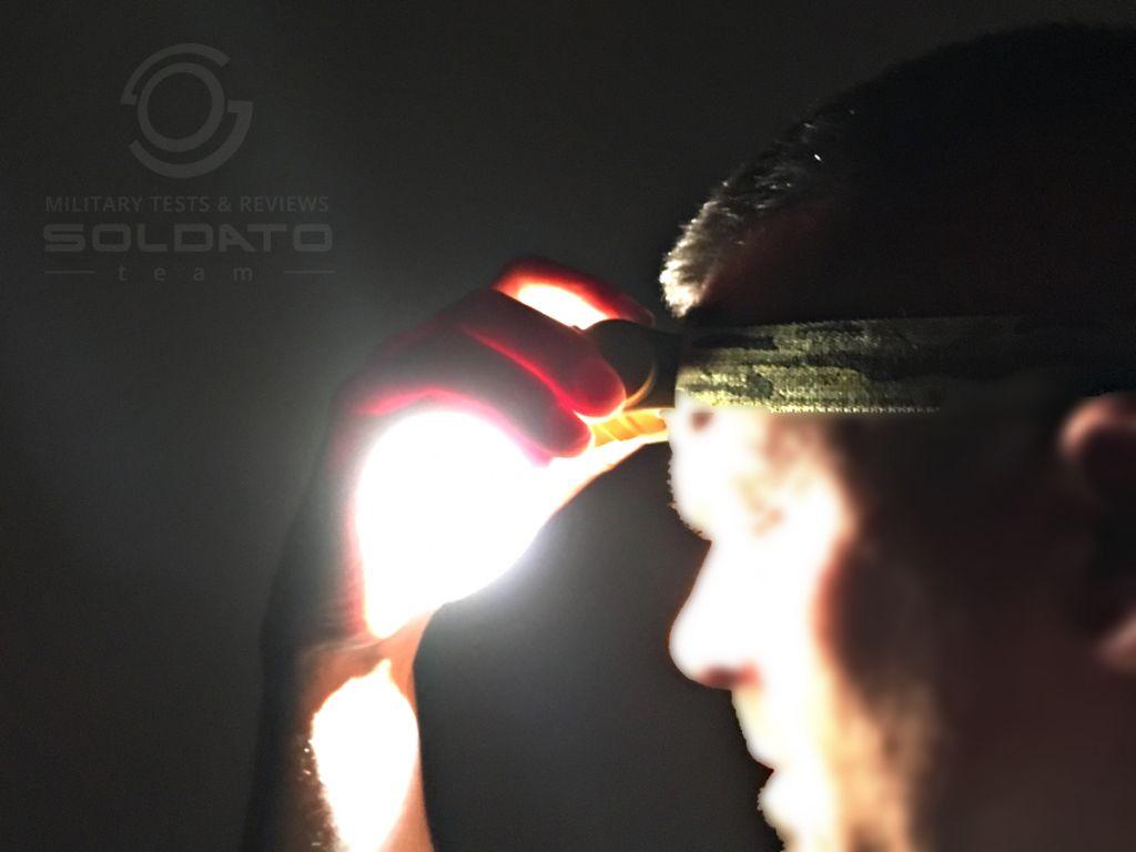 Zapínání světla čelovky